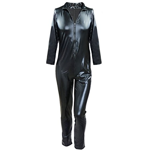 Freebily Herren Body Lackleder Ganzkörperanzug Overalls Reißverschluss Bodysuit Jumpsuit Wetlook Unterhemd Catsuit Clubwear Nachtclub Kostüm Schwarz lang L