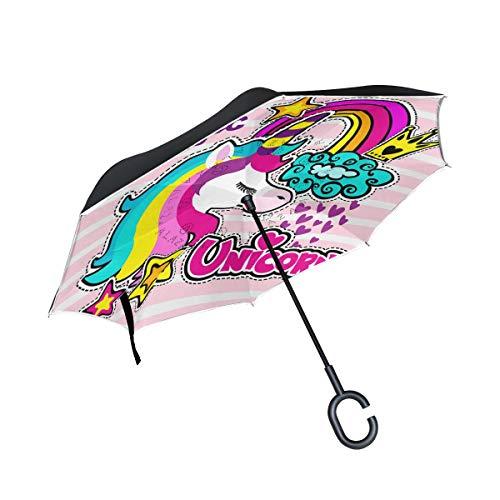 Wamika - Paraguas invertido de doble capa de unicornio mágico de dibujos animados con mango en forma de C, diseño de estrella arcoíris, color rosa, a rayas, impermeable, resistente al viento, para coche, lluvia, uso al aire libre