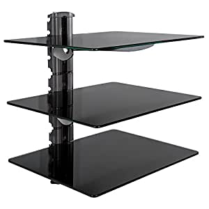 tectake wandregal aus glas f r dvd player blu ray player. Black Bedroom Furniture Sets. Home Design Ideas