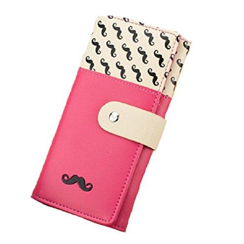 Hengsong Donna PU Pelle Borsa Portafoglio Tasche Wallet Purse Carta Brose Baffi Modello Barba (Rosa Caldo) Rosa Caldo