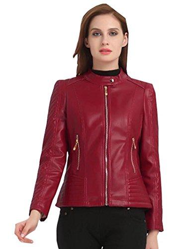 Damen Jacke Kunstlederjacke Bomberjacke Biker Leder Oberteile Mantel Coat Zieher Outwear Bikerjacke (Tasche Plaid Anzug Zwei)