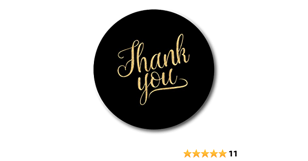 Envelopes 12 Black With Gold Glitter Effect Text 60mm In Diameter Party Bags Thank You Stickers Decorations Ac Party Supplies
