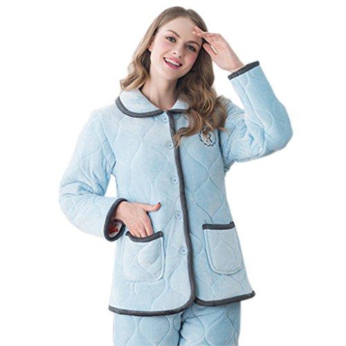 GWELL Ensemble de Pyjama Femmes Vêtement de Nuit Matelassé Polaire Doux Chaud Thermique 3 Doublure Chambre Col Revers Manches Longues Hiver Bleu