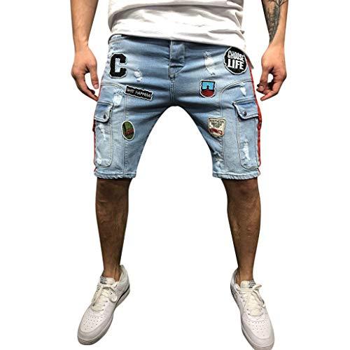 Mymyguoe Herren Hose Jeans Shorts Kurze Jeanshose Denim Slim Fit Herren Sommer Hose Shorts Hose Destroyed Used Stretch Herren Designer Jeans Short Kurze Hose Slim Sommer Shorts[Blau,S] -