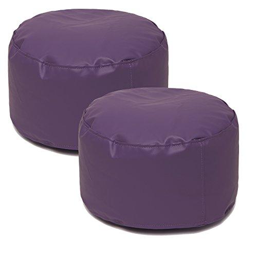 Jarrous Pack de 2 Puffs Taburete Redondos Modelo Colonial, Color Violeta, Medida 36x36x20cm