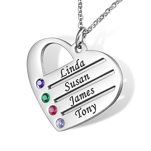 HOUSWEETY Familie Namenskette mit Geburtssteinen Edelstahl Hals-kette - Personalisiert mit Ihrem...