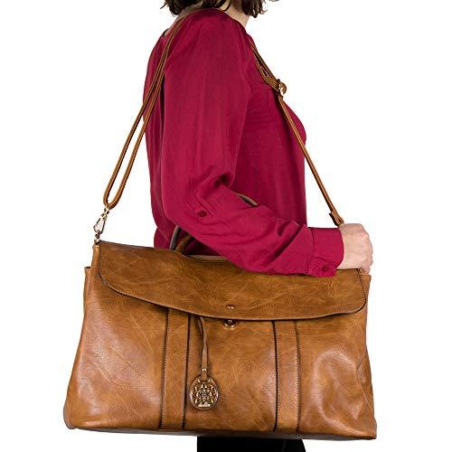Borsa nera donna shopping a spalla mano grande capiente color cuoio tipo bag con tracolla shopper da lavoro giorno viaggio passeggio vintage in Ecopelle Cuoio
