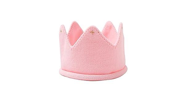 OULII Cappello Maglia Corona Cappellino Principessa per Bambine e Neonate in Maglia Rosa