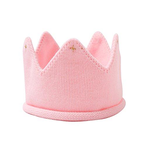 LUOEM Baby Krone Strickmütze Stoff Krone Stirnband Königskrone Kopfschmuck für Kinder Kinder Geburtstag Party Karneval Fasching Hochzeit Dekor(Rosa)