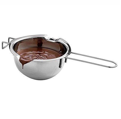 Daliuing Wasserbad Schmelzschale Butter Käse Creme Schokolade Schmelztopf Edelstahl Schokolade Schmelzschale Küche (Silber)