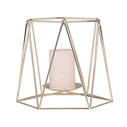 Dergtgh Geometrische Eisen Kerzenständer Gold-Kerzenhalter Metall-Kerze-Cup Home Ornaments Hochzeitsdeko
