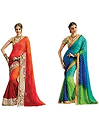 Mantra Fashions Women's Georgette Saree (Mant37_Multi)-Pack of 2