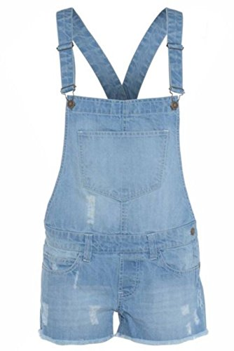 WOMENS LADIES DENIM STYLE DUNGAREE SHORTS DRESS JUMPSUIT SIZE 8 10 12 14 16 (SIZE 12, LIGHT WASH)