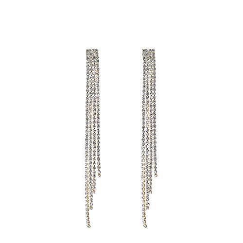 9 - Deniferymakeup - Pendientes largos con borla y cadena de cristal y piedras de color dorado y plateado, pendientes largos con varias cadenas y accesorios brillantes de estrás para mujeres y niñas
