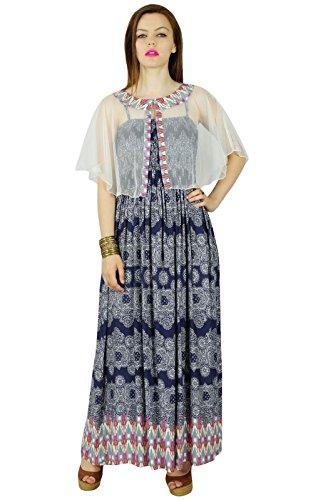 Bimba Les Femmes À Long Rayon Flaired Robe Maxi Avec Un Buste Smocké & Cape Poncho Net Bleu