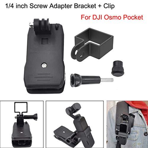 AMhomely 1/4 Zoll Screw Adapter Bracket + Clip für DJI Osmo Pocket Gimbal Pocket Camera Handheld Stabilizer Body Expansion Zubehör Halterung + Rucksackablage (A)