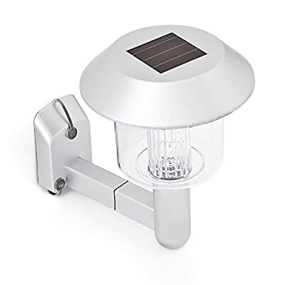 Relaxdays Solar LED Außenbeleuchtung Wandlampe Außenlampe Fassadenbeleuchtung Hausbeleuchtung Silber