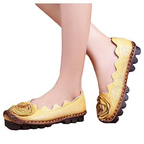 MatchLife Femme Vintage Cuir Plate Escarpins Floral Chaussures Style3-Jaune