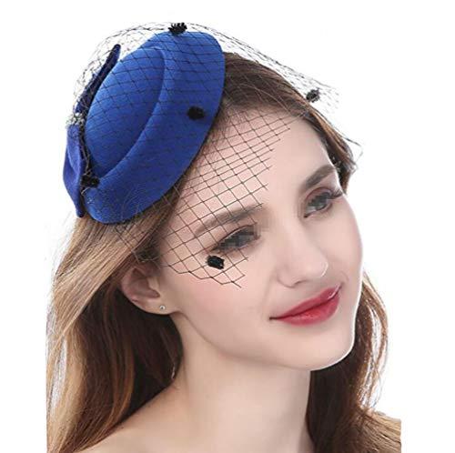 Damen-Hut mit Schleife, Derby-Hut, seitlicher Clip, Pillbox, Hut, Schleier, Stirnband, Partyhut für Mädchen und Frauen -