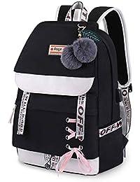 Asge Femme Sac à Dos Unisexe Loisir Backpack Garçons école Sacs Filles Mignon Cartable Nylon Imperméable Daypacks Adulte Fashion Décontracté Bag College Pack