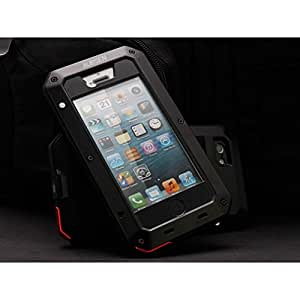 Aursen(TM) Water/Shock/Dust Proof Gorilla Glass Aluminum Metal Case (iPhone 5/5S Black)