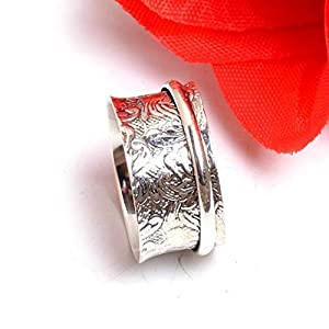 Meditationsringe, Spinnerringe, Silberringe für Frauen, Spinning Ring for Women, Anxiety Ring for Meditaion, Textured Ring, 925 Sterling Silver Band, Brass and Copper Spinner Ring for Women