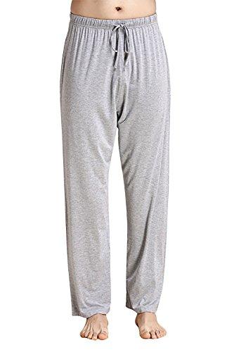 Dolamen Hombre Pantalones de pijama Fibra de carbón de bambú, Parejas Pantalones Boxeador largo Casual Ropa de dormir Cintura elástica bolsillos Tiempo libre Yoga Deportes (XXXX-Large, Gris)