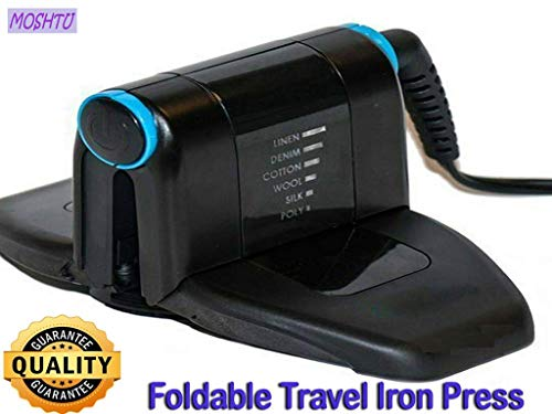 MOSHTU Folding Portable Travel Iron Electronic Foldable Mini Handheld Travelling Business Trips Press for Dry Clothes with Small Size Long Cable