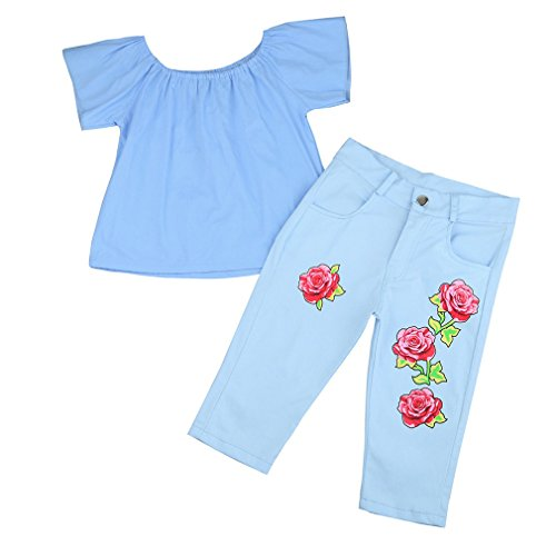 Floral Schulter (JYJM Mädchen aus Schulter Rose Floral Outfit Kleider Set (Size:6 Jahre, Blau))