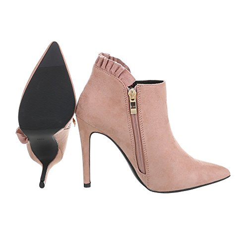 Ital-Design Ankle Boots Damenschuhe Ankle Boots Pfennig-/Stilettoabsatz High Heels Reißverschluss Stiefeletten Altrosa