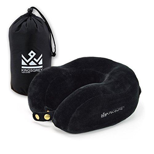 Komfort Nackenstütze für entspannte Ausflüge per Auto Flieger Bus aus angenehmem Visco Memory Schaumstoff - flauschiges ergonomisches Kissen Nackenhörnchen Flugzeug-Nackenrolle Schwarz klein