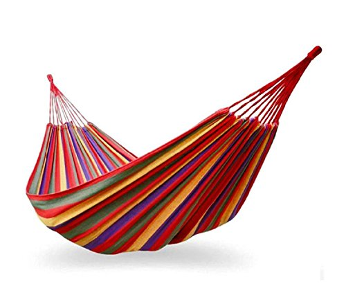 276846 Hamaca para el aire libre de algodón colorido L. 200 x P. 80cm con bolsa