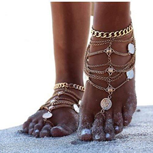 Chicer Punk BoHo Fußkettchen mit Zehenring Foot Kette Beach verstellbar für Frauen und Mädchen (Gold/1)