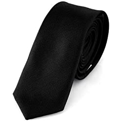 DonDon Schmale schwarze handgefertigte Krawatte 5 cm // verschiedene Farben wählbar