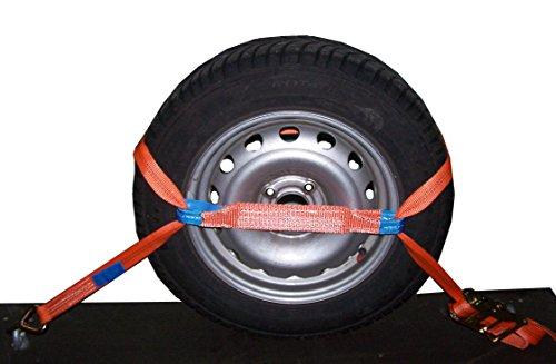4x Spanngurt AUTO TRANSPORT Zurrgurt Radsicherung PKW KFZ Trailer Reifengurt (3)