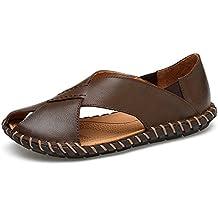 Yao Leder Strand Hausschuhe Herren Echtes Rindsleder Casual Rutschfeste Handarbeit Sole Sandalen Schuhe Close-Toe
