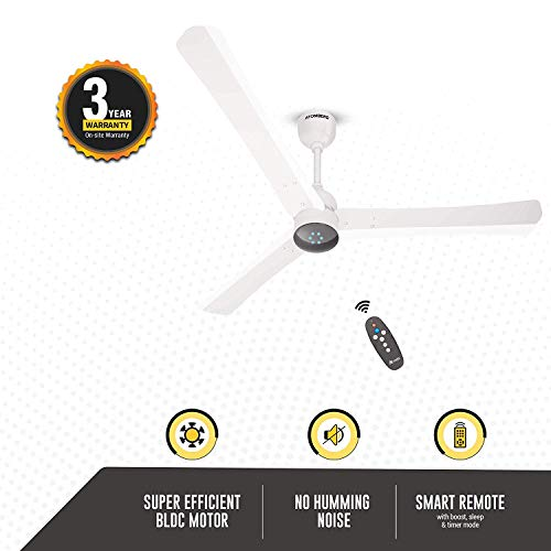 Gorilla Renesa+ Energy Saving 5 Star Rated Ceiling Fan With Remote Control and BLDC Motor,1200mm (Pearl White)