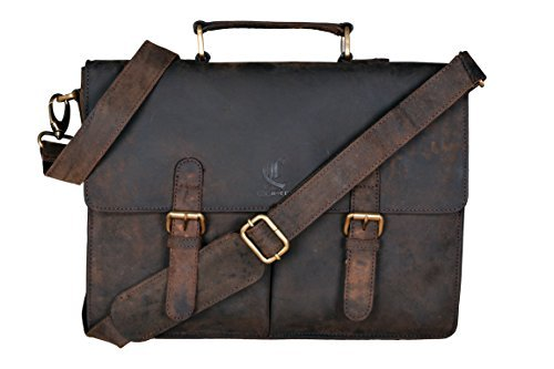 Cuero 14″ Leather Laptop Briefcase Satchel Messenger Men's Handbag Leather Messenger for Men's and Women