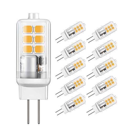 Jpodream® G4 LED Lampe, 2W 12X 2835SMD OLED Lampe, 210LM, Ersatz für 20W Halogenlampen, 2700K Warmweiß, AC/DC12V, 360° Abstrahlwinkel LED Leuchtmittel - 10er Pack