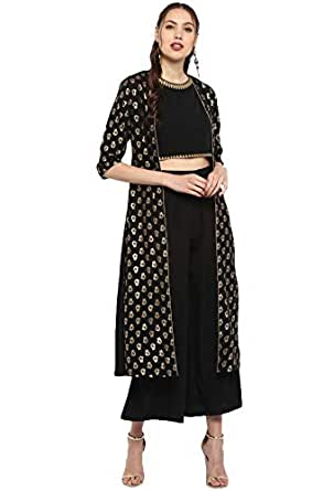 Janasya Women's Black Poly Crepe Top With Palazzo And Jacket