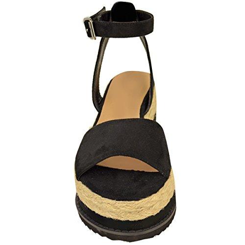 Nuovo Da Donna Grosso Espadrille Sandali Con Cinturino Forma Piatta Scarpe Zeppa Misura Nera Pelle Scamosciata