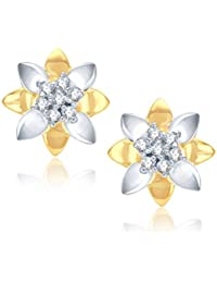 V. K. Jewels Lotus Gold And Rhodium Plated Stud Earring For Women