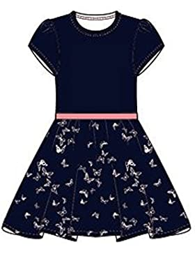NAME IT Mädchen Kleid Kurzarm Blau Sky Captain NitGisto SS Dress Schmetterlinge