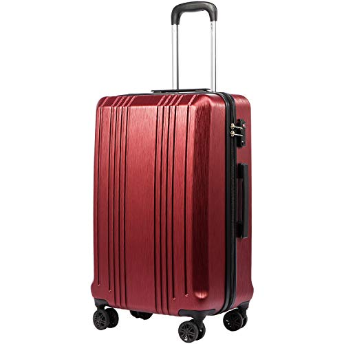 COOLIFE Luggage Koffer Reisekoffer Expandable Suitcase PC + ABS 3-teiliges Set mit TSA Lock Spinner (Rot, Mittelgroßer Koffer)