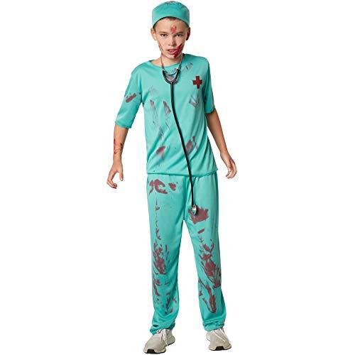 dressforfun 900430 - Jungenkostüm gruseliger Arzt, Gruseliges Arztkostüm mit Blutflecken (152 | Nr. 302213) (Zombie Krankenhaus Patient Kostüm)