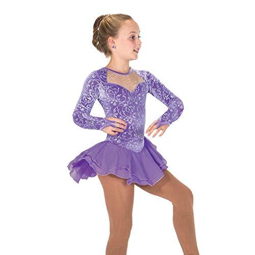Eislaufen Kleid for Mädchen Frauen lila Eiskunstlauf Wettbewerb Leistung Kostüm ärmelloses Samt Chiffon (Color : Purple, Size : (Chiffon Samt Kostüm)