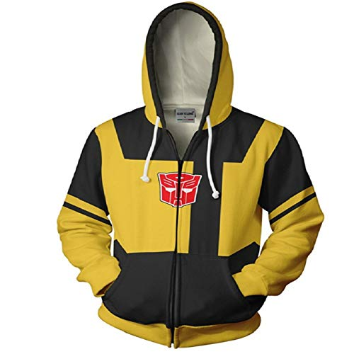 RJHWY 3D Hoodie Sweatshirt Unisex Pullover Kapuzenjacke Kleidung Mantel Reißverschluss Anime Top Transformers Bumblebee L (Transformers Bumblebee Kinder Kostüm)