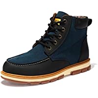 AIMENGA Men's Shoes Autumn and Winter To Help Men's Shoes Large Size Fashion Leather Boots Casual Shoes Tooling Shoes,Dark Blue,42