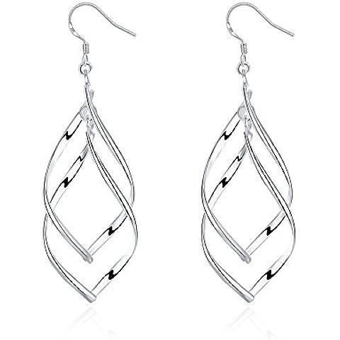 Bombola orecchini Pendantif doppia forma foglia albero semplice argento orecchino da donna regalo anniversario matrimonio