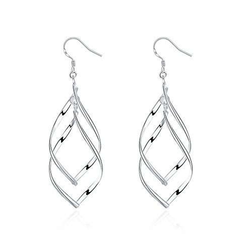 Pleated Drop (Qian Mu Silber Vergoldet Haken baumeln Drop Twist Ohrringe f¨¹r Frauen)